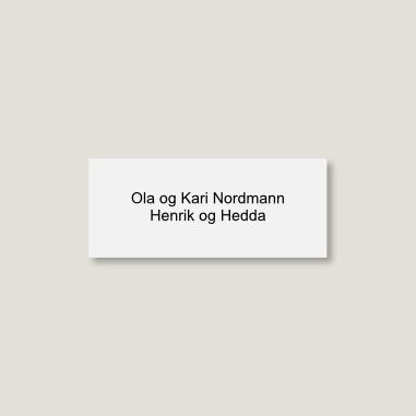 Skilt til postkasse, lite, hvitt med sort tekst
