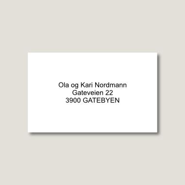 Postkasseskilt, standard størrelse, hvitt med sort tekst