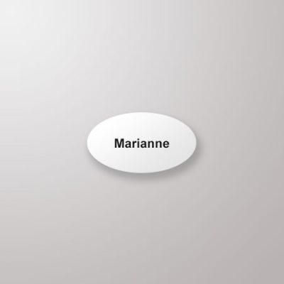 Navneskilt, oval, 61 x 34, hvit med sort tekst